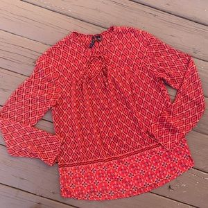 MNG Mango Top Euro Red Silky Floral Size 4